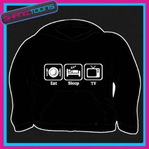 EAT SLEEP WATCH TV COUCH POTATO FUNNY HOODY HOODIE ALL SIZES & COLOURS